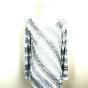 🌹WHBM Women's Sz S Assymmetrical Striped Top
